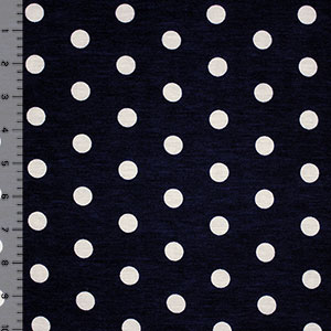 Polka Dots on Dark Navy Blue Cotton Spandex Blend Knit Fabric