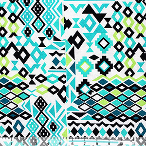 Aqua Lime Black Diamond Patchwork Cotton Spandex Blend Knit Fabric