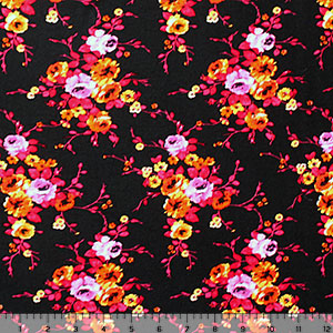 Fuchsia Orange Floral on Black Cotton Spandex Blend Knit Fabric