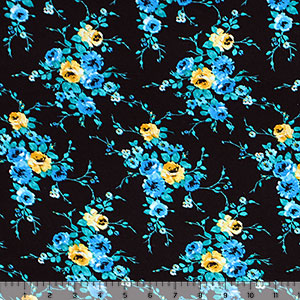 Yellow Teal Floral on Black Cotton Spandex Blend Knit Fabric