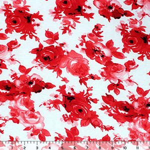 Red Pink Floral on White Cotton Spandex Blend Knit Fabric