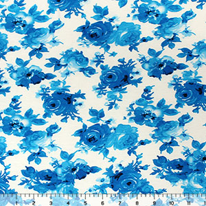 Half Yard Blue Floral on White Cotton Spandex Blend Knit Fabric