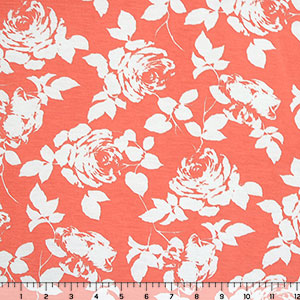 White Rose Silhouettes on Coral Cotton Spandex Blend Knit Fabric