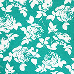 White Rose Silhouettes on Spearmint Cotton Spandex Blend Knit Fabric