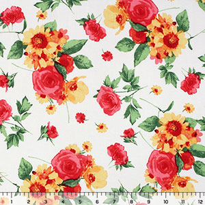 Pink Yellow Floral on White Cotton Spandex Blend Knit Fabric