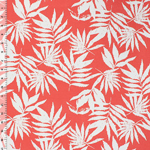 Vintage Palm Leaves on Coral Cotton Spandex Blend Knit Fabric