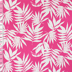 Half Yard Vintage Palm Leaves on Hot Magenta Cotton Spandex Blend Knit Fabric