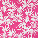 Vintage Palm Leaves on Hot Magenta Cotton Spandex Blend Knit Fabric