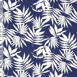 Vintage Palm Leaves on Denim Blue Cotton Spandex Blend Knit Fabric