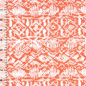 Half Yard Vintage Tiki Huts on Coral Cotton Spandex Blend Knit Fabric