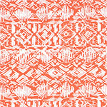 Vintage Tiki Huts on Coral Cotton Spandex Blend Knit Fabric