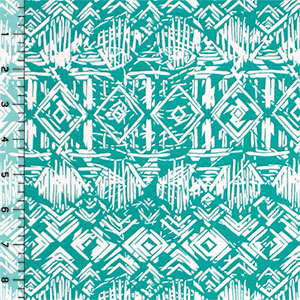 Vintage Tiki Huts on Spearmint Cotton Spandex Blend Knit Fabric
