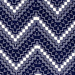 Blue White Zig Zag Dot Brushed Jersey Spandex Blend Knit Fabric