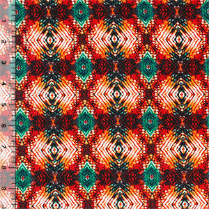 Jewel Ethnic Kaleidoscope Cotton Spandex Blend Knit Fabric