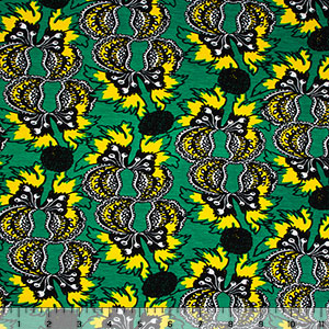 Yellow Black Botanical Floral Cotton Spandex Blend Knit Fabric