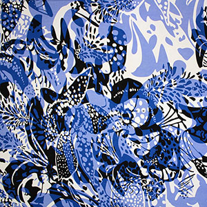 Half Yard Blue Navy Blue Mod Floral Cotton Spandex Blend Knit Fabric