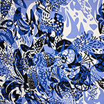 Blue Navy Blue Vintage  Mod Floral Cotton Spandex Blend Knit Fabric