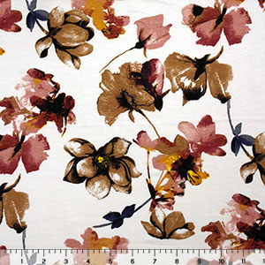 Half Yard Mauve Gold Brush Floral on Ivory Cotton Spandex Blend Knit Fabric