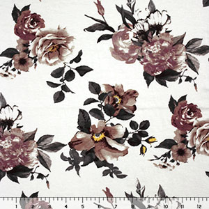 Gray Mauve Floral on Ivory Cotton Spandex Blend Knit Fabric