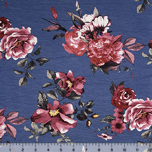 Half Yard Magenta Pink Floral on Blue Cotton Spandex Blend Knit Fabric