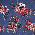 Magenta Pink Floral on Blue Cotton Spandex Blend Knit Fabric