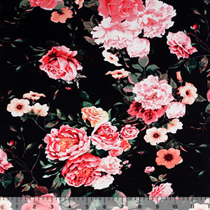 Pink Coral Roses on Black Cotton Spandex Blend Knit Fabric