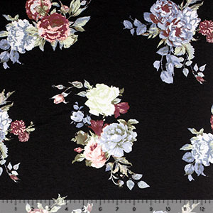 Half Yard Chalk Blue Green Small Roses on Black Cotton Spandex Blend Knit Fabric