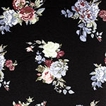 Chalk Blue Green Small Roses on Black Cotton Spandex Blend Knit Fabric
