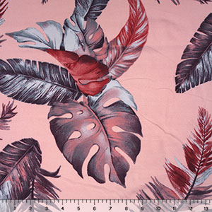 Plum Blue Feather Palm on Blush Double Brushed Jersey Spandex Blend Knit Fabric