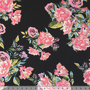 Vintage Pink Lilac Floral on Black Brushed Cotton Spandex Blend Knit Fabric