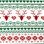 Traditional Fair Isle Deer Heart Cotton Spandex Knit Fabric