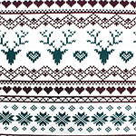 Vintage Fair Isle Deer Heart Cotton Spandex Knit Fabric