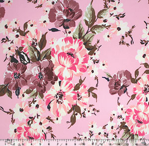 Half Yard Pink Mauve Floral on Pink Double Brushed Jersey Spandex Blend Knit Fabric