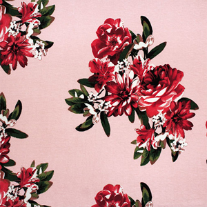 Half Yard Pink Red Big Bouquets on Peony Cotton Spandex Blend Knit Fabric
