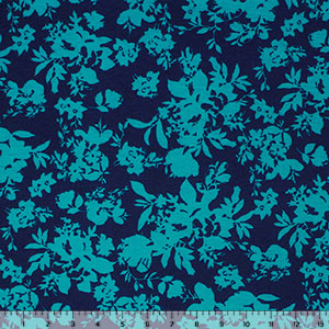 Teal Blue Floral Silhouettes on Navy Cotton Spandex Blend Knit Fabric