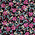Magenta Mustard Floral on Black Cotton Spandex Blend Knit Fabric