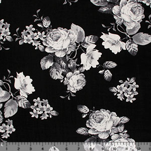 Gray Rose Bouquets on Black Cotton Spandex Blend Knit Fabric