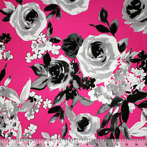 Large Gray Floral on Fuchsia Cotton Spandex Blend Knit Fabric