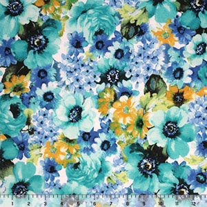 Blue Gold Watercolor Flowers Cotton Spandex Blend Knit Fabric