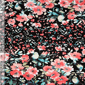 Coral Teal Sparrow Floral on Black Cotton Spandex Blend Knit Fabric