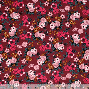 Small Pink Bouquets on Maroon Cotton Spandex Blend Knit Fabric