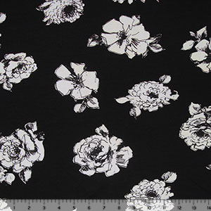 Pencil Floral on Black Cotton Spandex Blend Knit Fabric