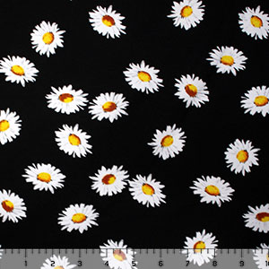White Daisies on Black Cotton Spandex Knit Fabric