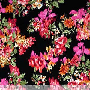 Flower Rain on Black Cotton Spandex Knit Fabric