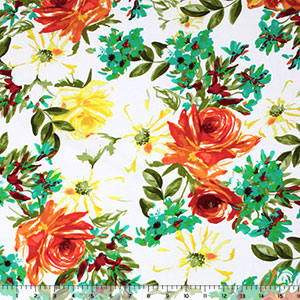 Teal Green Orange Big Floral on White Cotton Spandex Knit Fabric