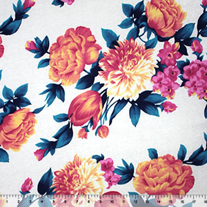 Coral Fuchsia Floral Mix on Ivory Cotton Spandex Knit Fabric