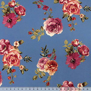 Mauve Caramel Floral on Denim Double Brushed Jersey Spandex Blend Knit Fabric