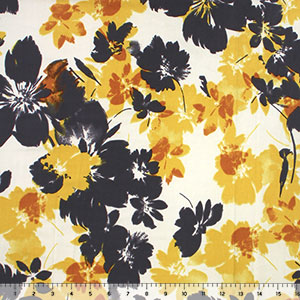 Charcoal Mustard Floral on Vanilla Double Brushed Jersey Spandex Blend Knit Fabric