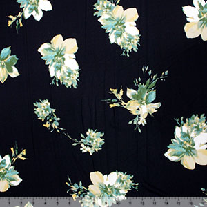 Green Beige Floral on Midnight Double Brushed Jersey Spandex Blend Knit Fabric