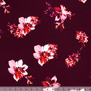 Pink Coral Flowers on Wine Double Brushed Jersey Spandex Blend Knit Fabric